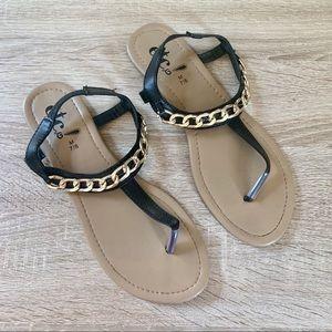 Rue21 Gold Chain Faux Leather Black T Shape Sandal